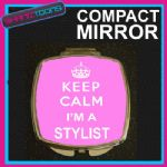 KEEP CALM I'M A STYLIST COMPACT LADIES METAL HANDBAG GIFT MIRROR